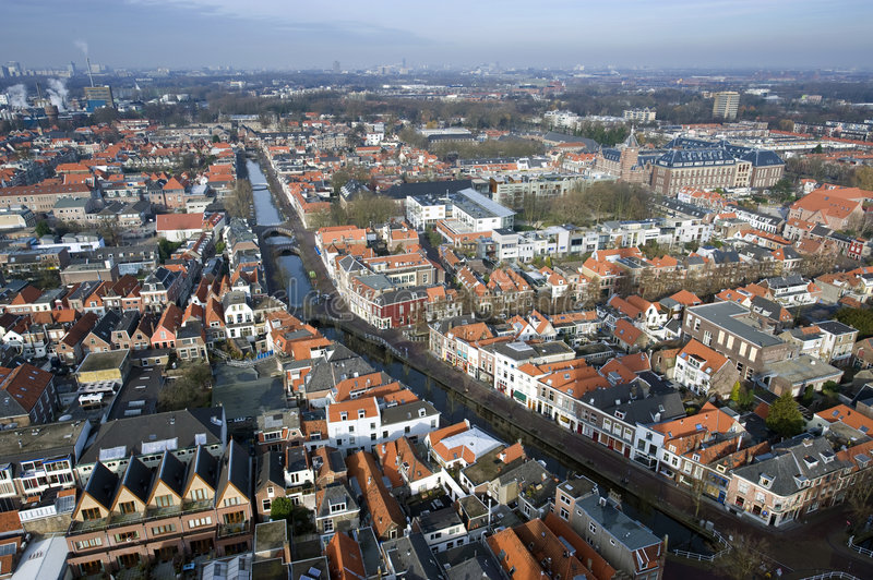Delft from Above. The historic university city of Delft, the Netherlands, seen from above, looking in the direction of the Hague royalty free stock photography