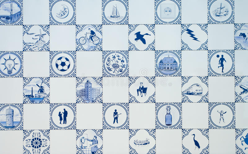 Delft blue. Tiles as a wall of a modern building stock photography