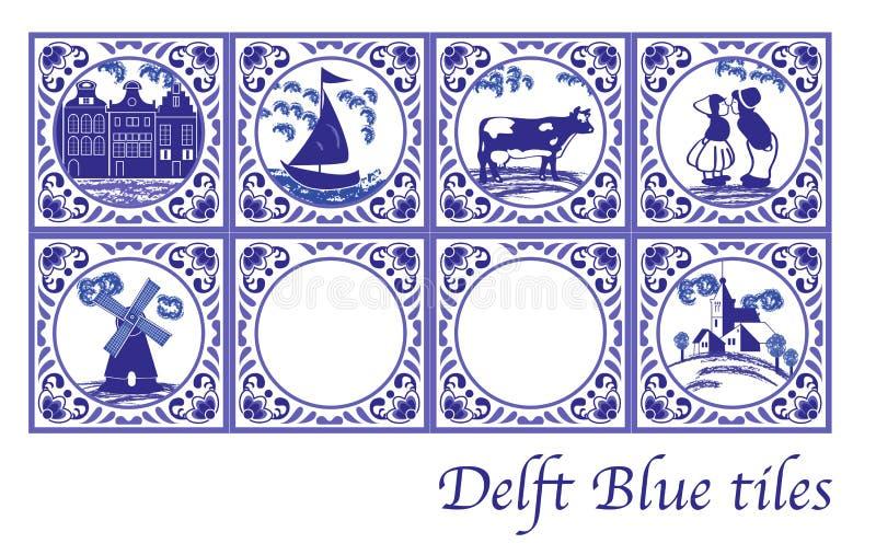 Delft Blue Dutch tiles with folk pictures. Set of Delft Blue Dutch tiles with folk pictures royalty free illustration