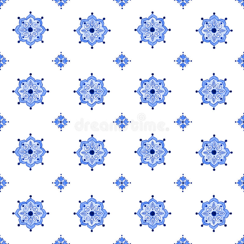 Delft blue style seamless watercolor vintage pattern stock illustration