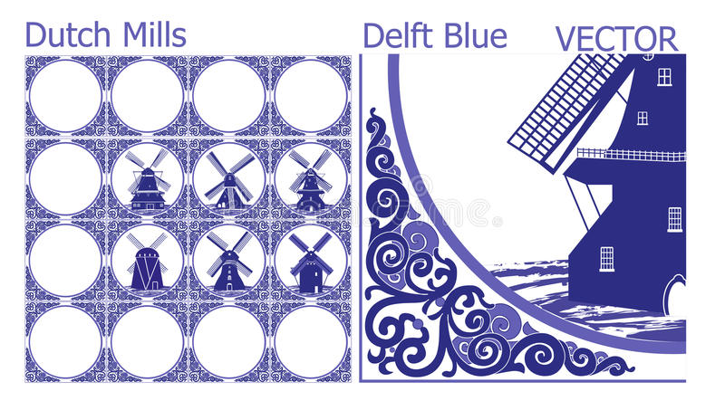 Delft Blue tiles (pattern) with Dutch Windmill pictures stock illustration