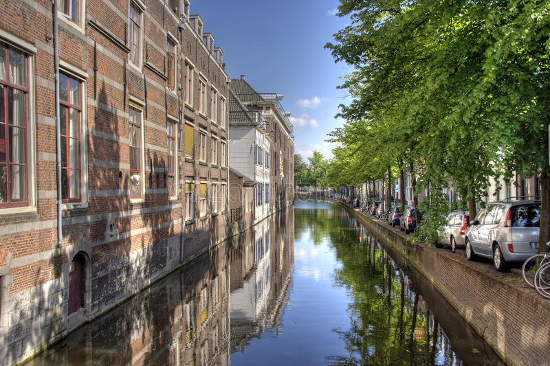 Delft Canal. Historic canal in Delft, Holland royalty free stock image