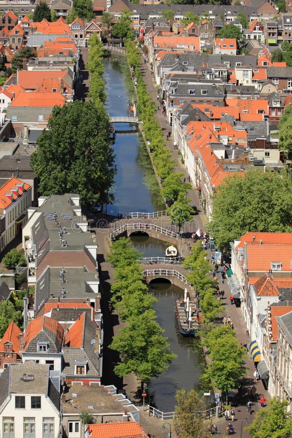 Delft canal. The aerial view of Delft canal, Netherlands stock photos