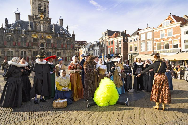 Delft city. Netherlands.  Historic live costume show royalty free stock images