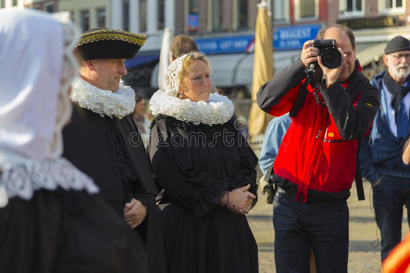 Delft city. Netherlands.  Historic live costume show stock photo