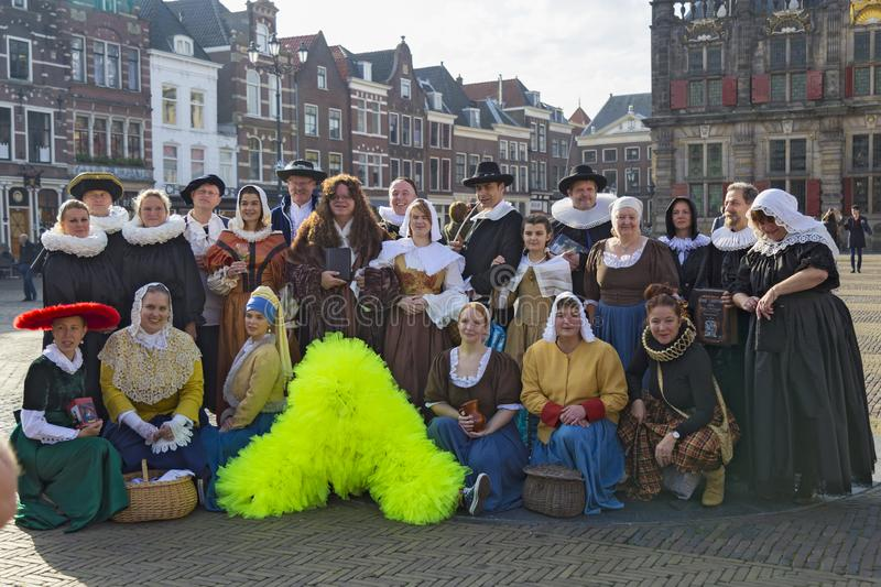 Delft city. Netherlands.  Historic live costume show stock photography