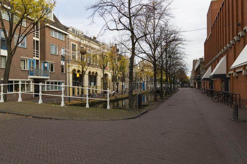 Delft city. Netherlands.  Street of town at autumn royalty free stock image