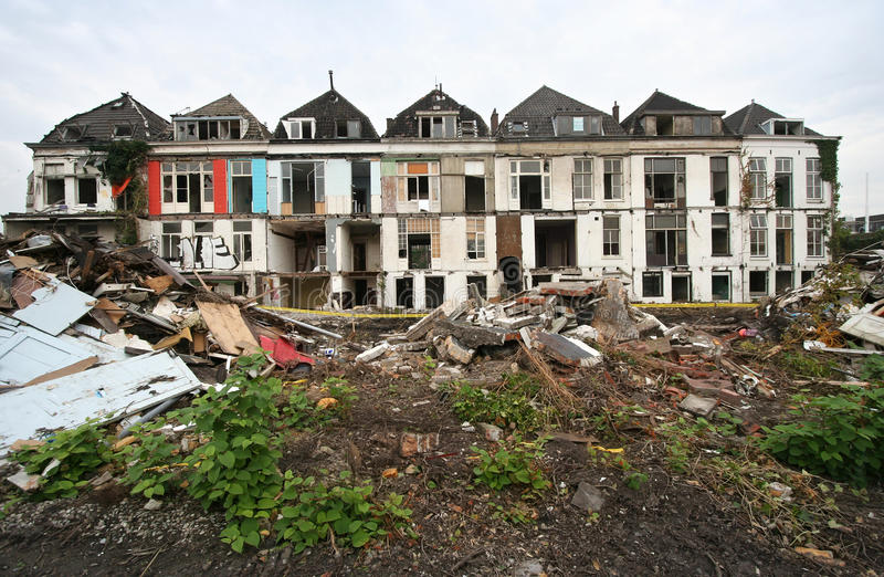 Delft Demolition. Demolition of historical houses in Delft, Holland, sacrificed to a railwayline stock image