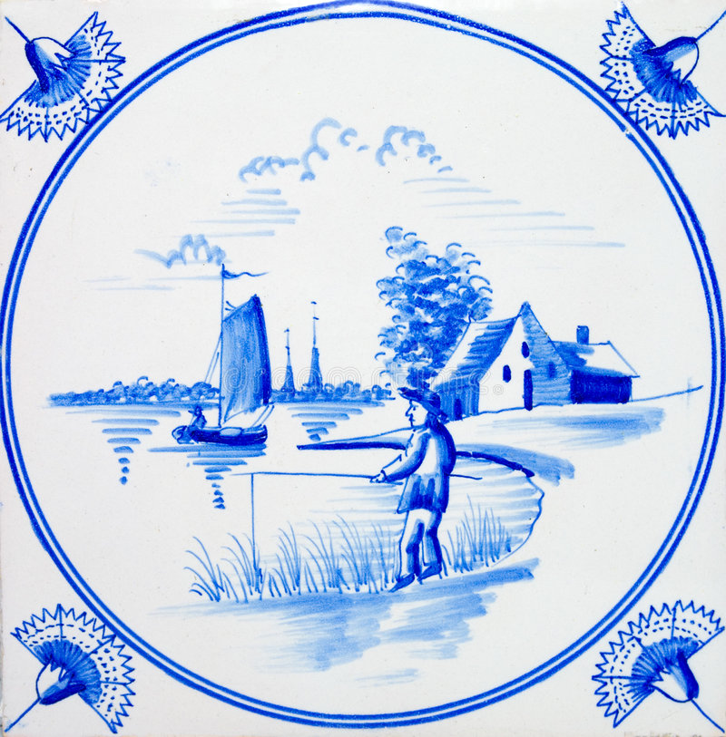 Delft Fisherman Tile. An old Dutch Delft blue & white scenic tile dating circa 1820 stock image