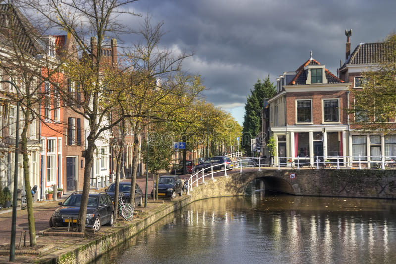 Delft, Holland. Canal and houses in historical centre of Delft, Holland royalty free stock images
