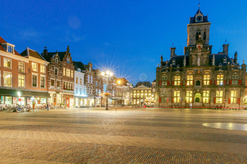 Delft. Market Square. The central market square in the city Delft on sunset. Netherlands stock photo