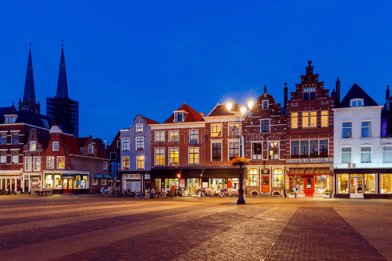 Delft. Market Square. The central market square in the city Delft on sunset. Netherlands royalty free stock photography