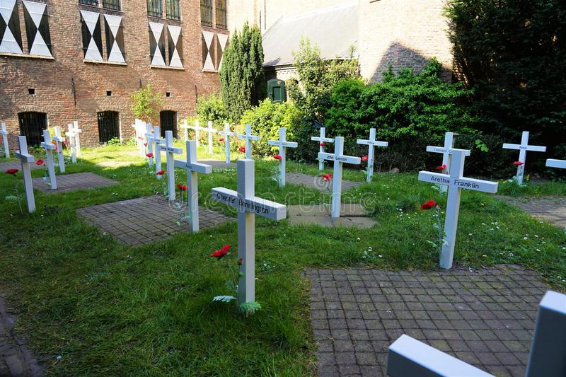 Delft, The Netherlands - April 21, 2019: Prinsenhof, Temporary cemetery which is part of the exhibition `Mojo backstage.'. Temporary cemetery which is part royalty free stock image