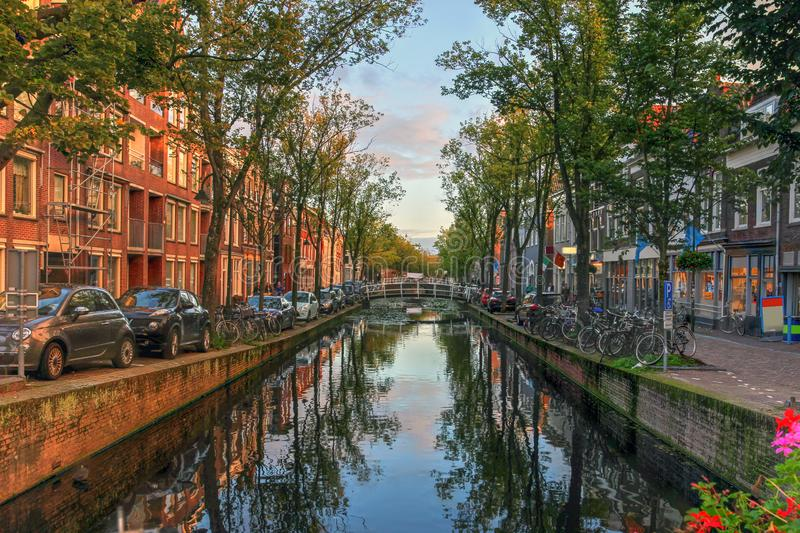 Delft, Netherlands. Evening canal scene in Delft, the Netherlands royalty free stock photography