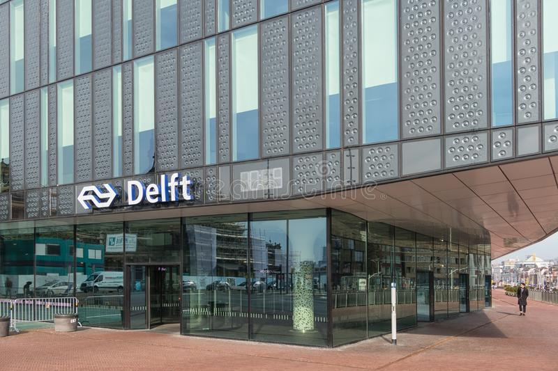Entrance new built Dutch railway station at Delft royalty free stock images