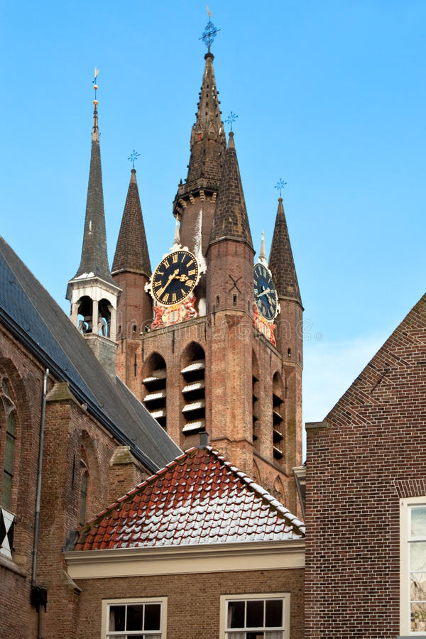 Download Delft Old Church Tower stock image. Image of estate, gray - 16842243