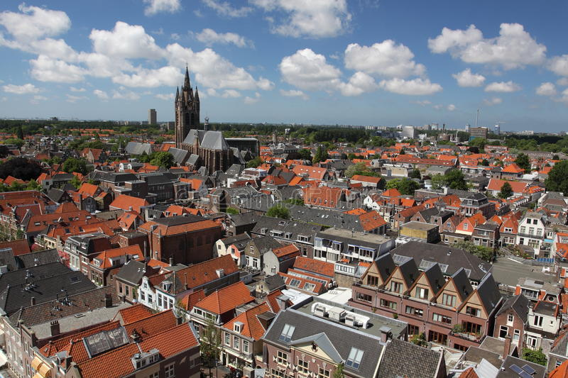 Delft panorama. The Delft city center panorama seen from the tower of town hall royalty free stock photography