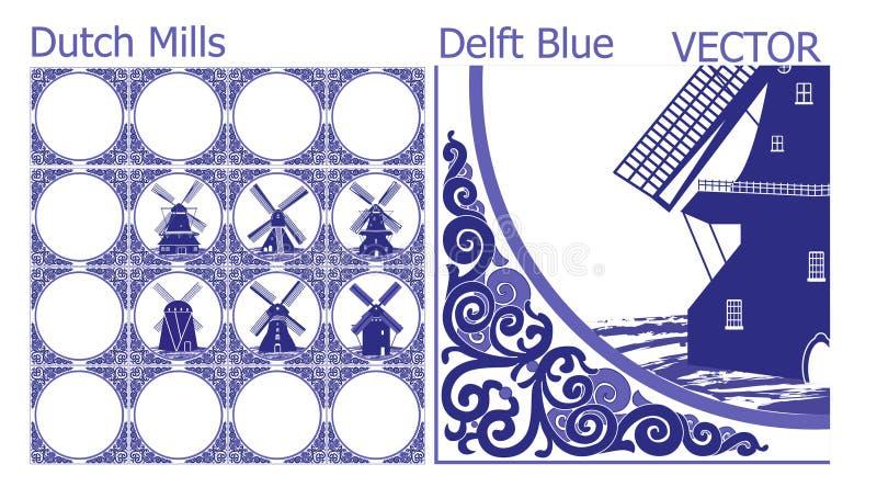 Delftfajansblåtttegelplattor (modell) med holländska väderkvarnbilder stock illustrationer