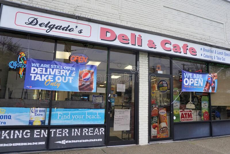 Delgado`s Deli Ossining New York USA May 2020 stock images