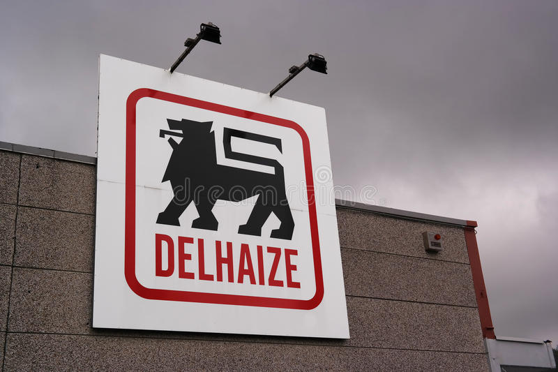 Delhaize supermarket. WALLONIA, BELGIUM - OCTOBER 2014: Logo of a Delhaize supermarket, part of Delhaize Group, an international food retailer which operates royalty free stock photo