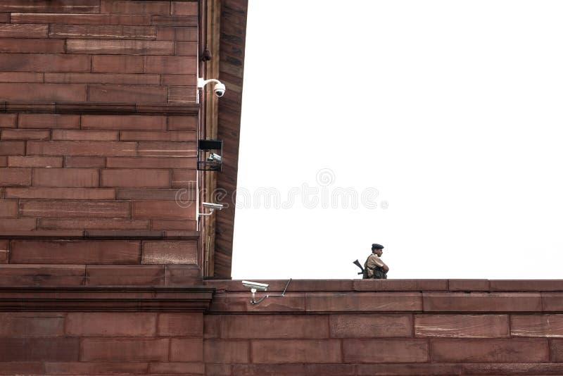 Delhi-11 10 2018: Полицейский на его обязанности стоковые фото