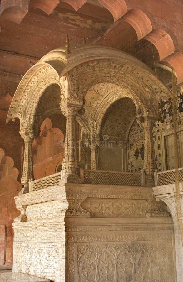 delhi cesarza indii mughal fortu czerwony tron zdjęcie stock