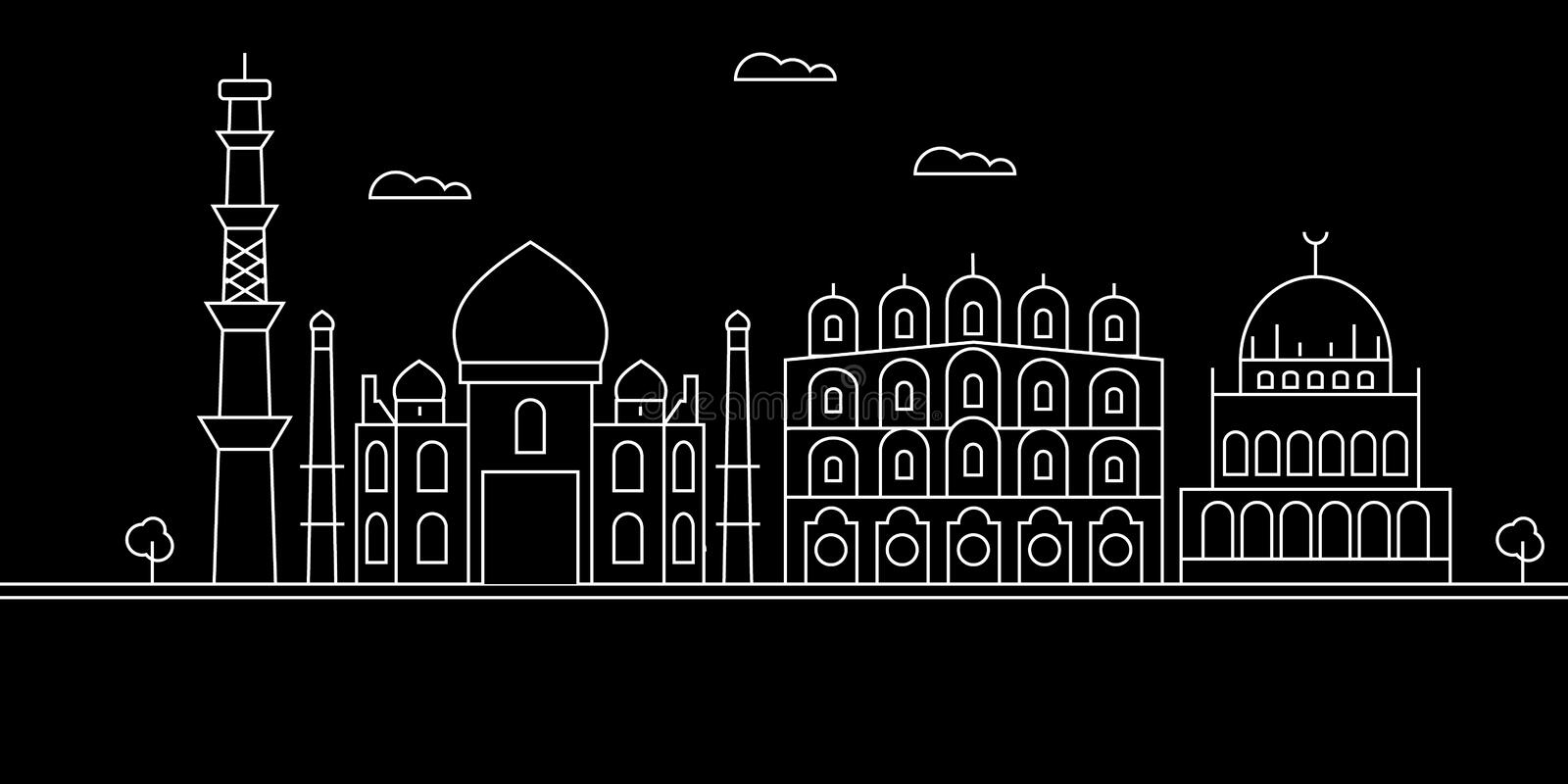 Delhi city silhouette skyline. India - Delhi city vector city, indian linear architecture, buildings. Delhi city travel. Delhi city silhouette skyline. India royalty free illustration