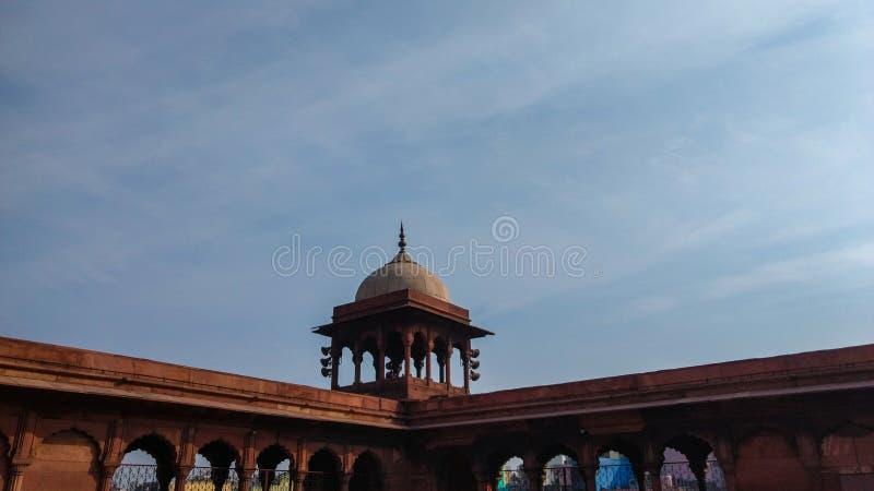 Delhi, India - 14 aprile 2019: Parete di Jama Masjid, vecchia Delhi, India fotografia stock