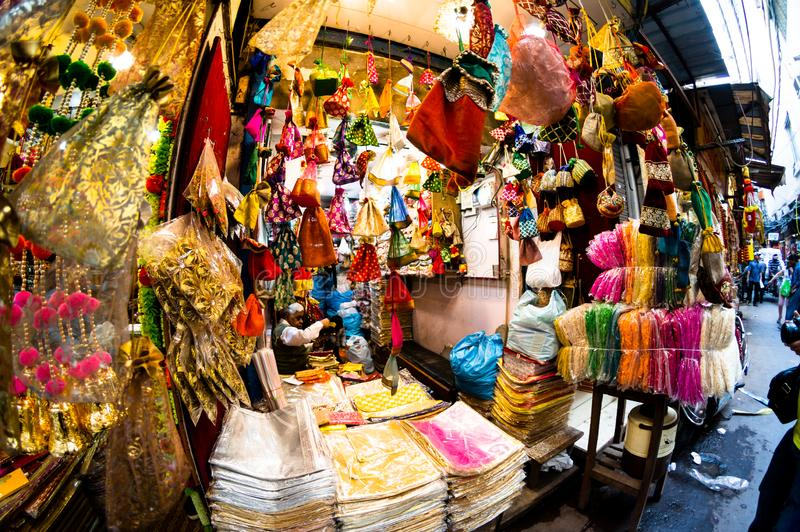Small decoration and accessories shops in chandni chowk kinari bazar shot with fisheye royalty free stock photos