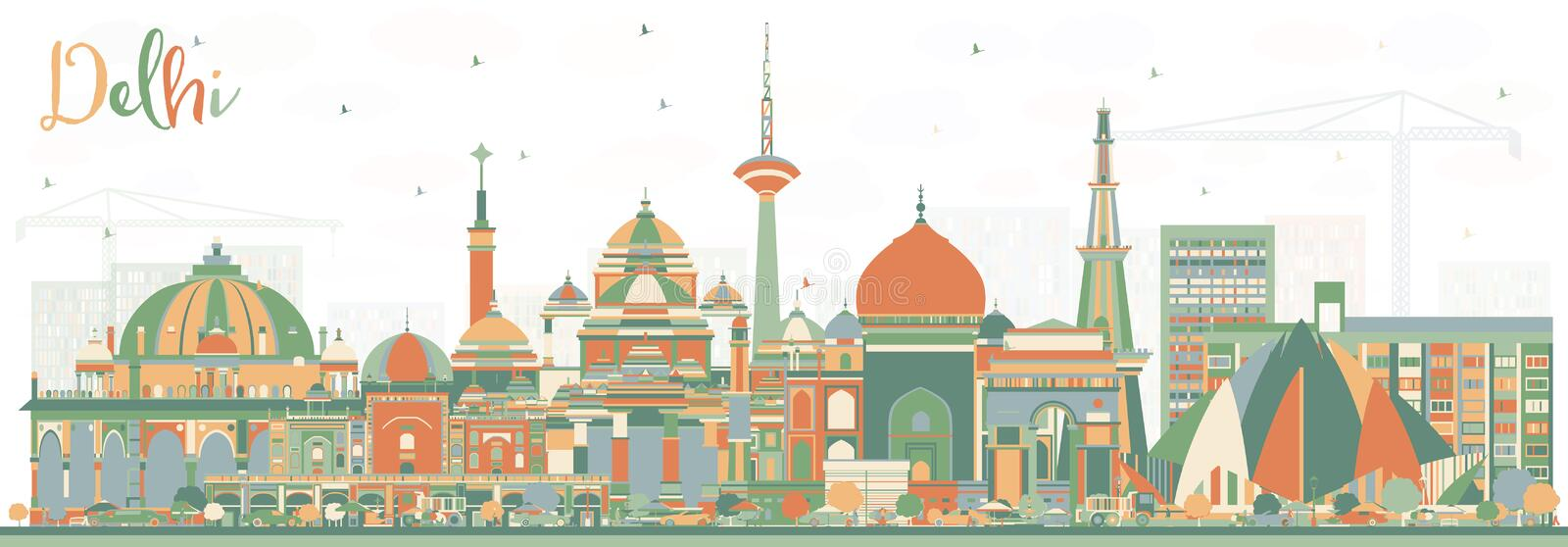 Delhi India City Skyline with Color Buildings. Vector Illustration. Business Travel and Tourism Concept with Historic Architecture. Delhi Cityscape with stock illustration