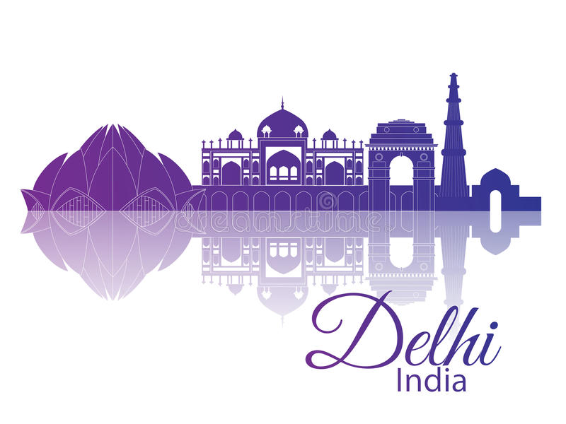 Delhi, India. City skyline. Delhi India. City skyline with reflection royalty free illustration