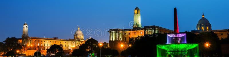 Delhi, India. Illuminated Rashtrapati Bhavan an Parliament building. In Delhi, India. Car traffic trail lights. Dark sunset sky stock photography