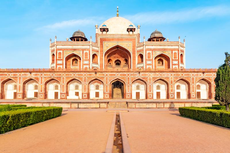 Delhi, India, 30 March 2019 - Humayun`s tomb is the tomb of the Mughal Emperor Humayun in Delhi, India. The tomb was. Commissioned by Humayun`s first wife and stock photos