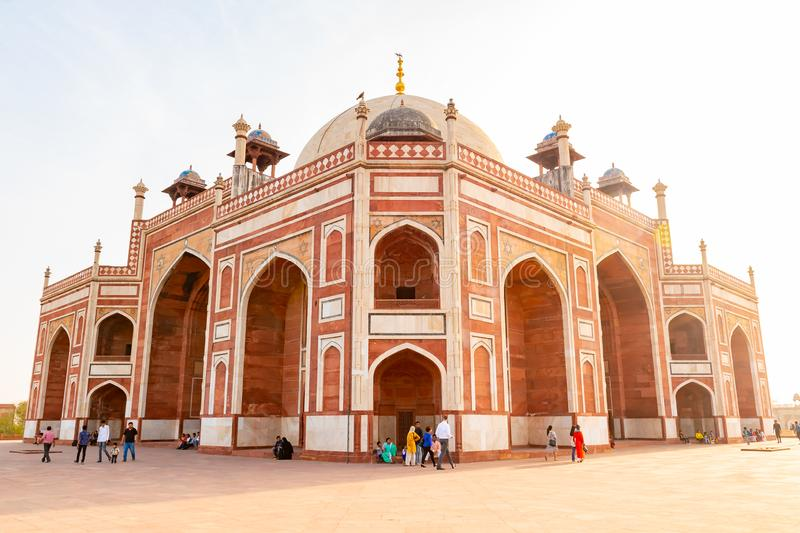 Delhi, India, 30 March 2019 - Humayun`s tomb is the tomb of the Mughal Emperor Humayun in Delhi, India. The tomb was. Commissioned by Humayun`s first wife and stock photography