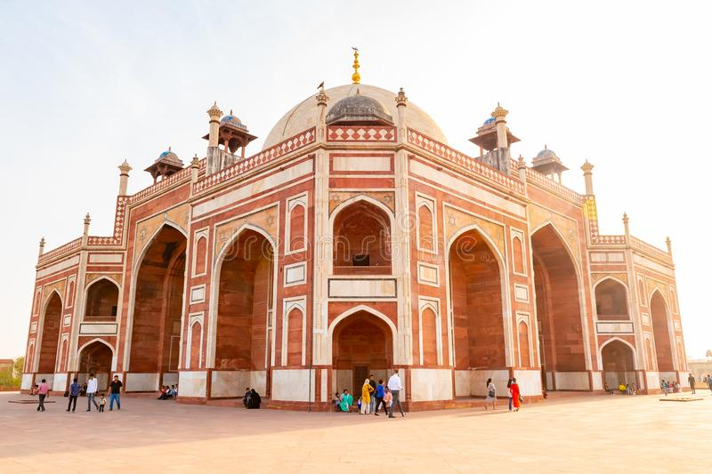 Delhi, India, 30 March 2019 - Humayun`s tomb is the tomb of the Mughal Emperor Humayun in Delhi, India. The tomb was. Commissioned by Humayun`s first wife and royalty free stock images