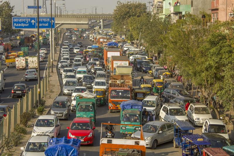 Road traffic on indian city street aerial view. traffic jam stock photos