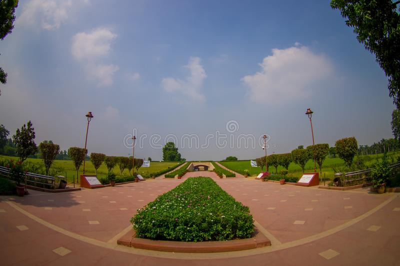DELHI, INDIA - SEPTEMBER 25 2017: Gorgeous view of the park where is located the Rajghat, New Delhi as memorial at royalty free stock images