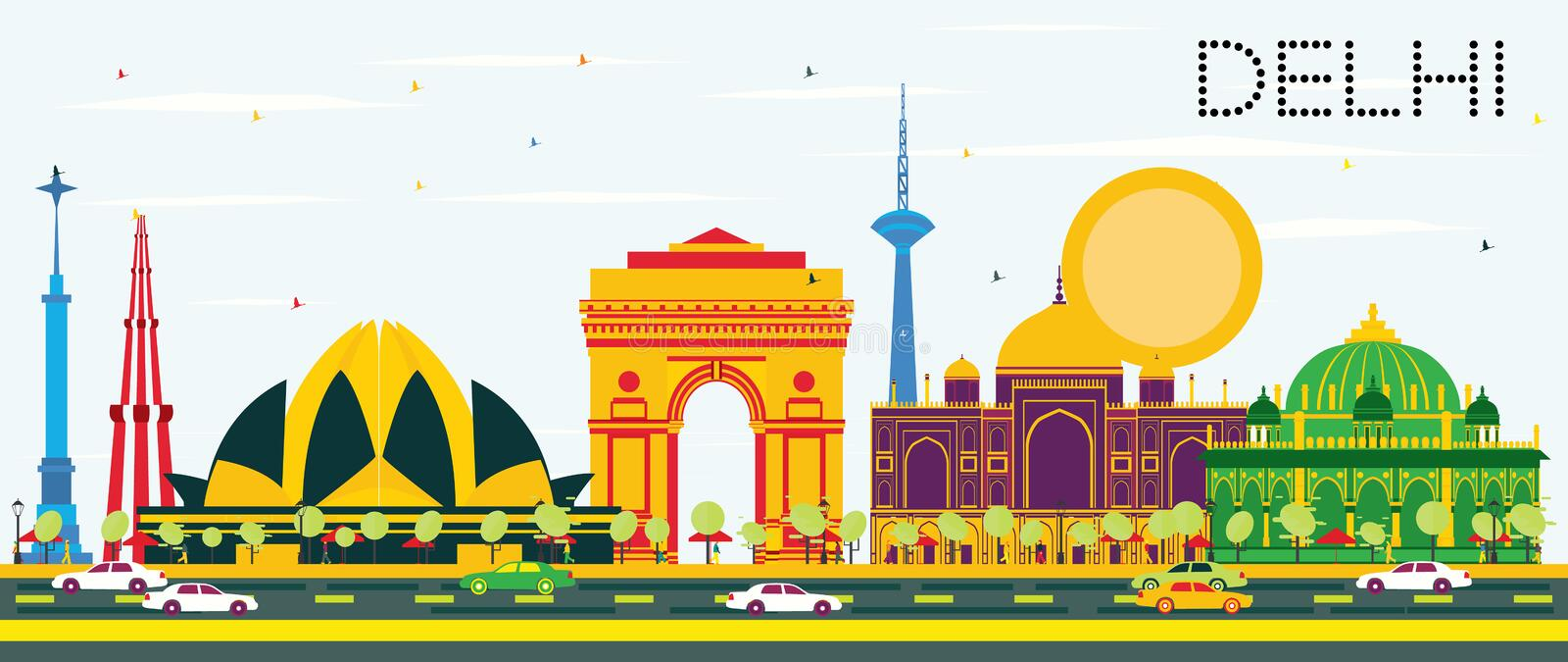 Delhi India Skyline with Color Buildings and Blue Sky. Vector Illustration. Business Travel and Tourism Concept with Historic Architecture. Image for stock illustration
