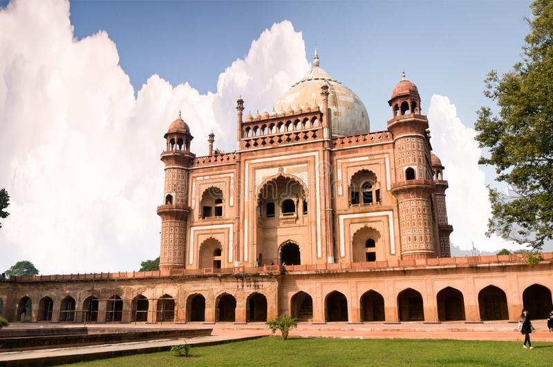 External shot of humayun`s tomb with people royalty free stock photography