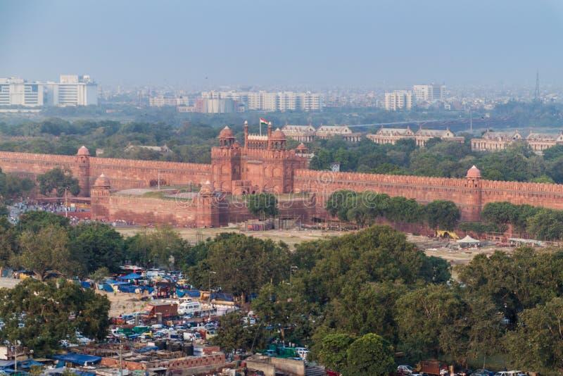 DELHI INDIEN - OKTOBER 22, 2016: Rött fort i mitten av Delhi, Indi fotografering för bildbyråer
