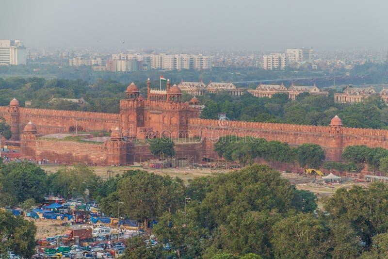 DELHI INDIEN - OKTOBER 22, 2016: Rött fort i mitten av Delhi, Indi arkivfoto