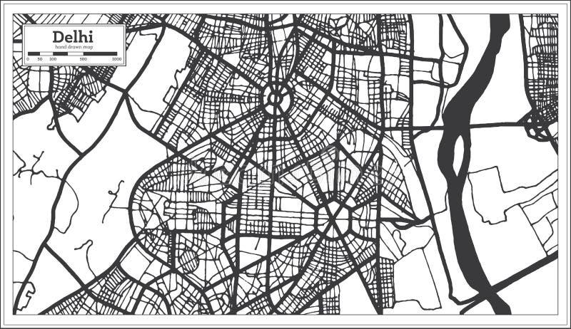 Delhi Indien stadsöversikt i Retro stil i svartvit färg skisserar kartl?gger stock illustrationer