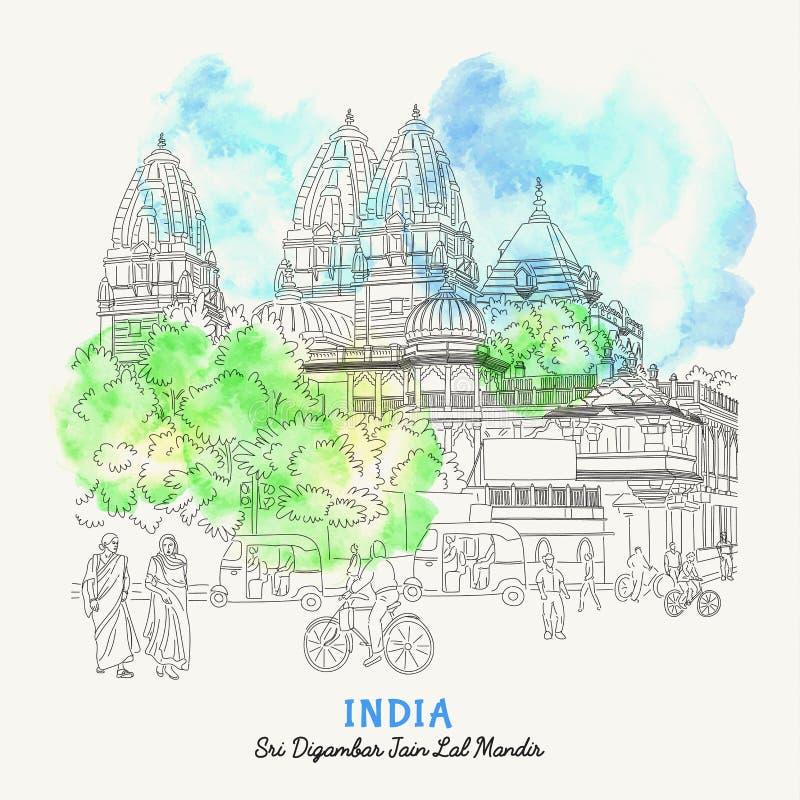 Delhi, la India Opiniones de la calle de la India Fondo arquitectónico dibujado mano con el edificio histórico Fuerte rojo Bosque stock de ilustración
