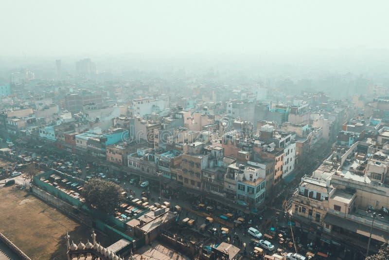 Delhi, la India Vista de Delhi vieja del alminar de Jama Masjid imagen de archivo