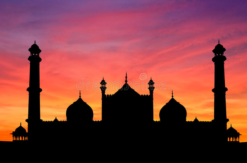 delhi meczetu zmierzch zdjęcia stock