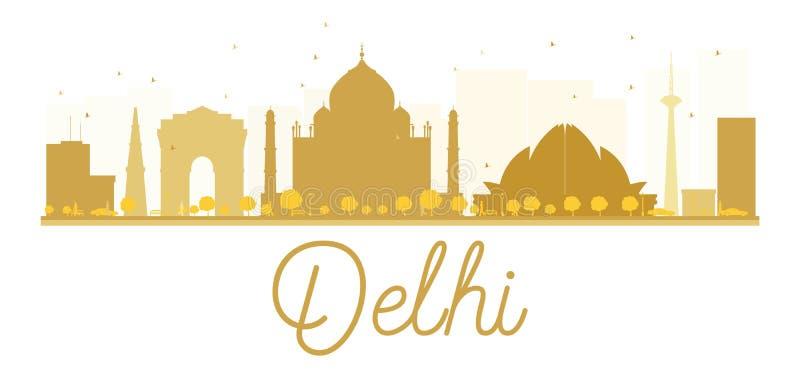 Delhi miasta linii horyzontu złota sylwetka royalty ilustracja