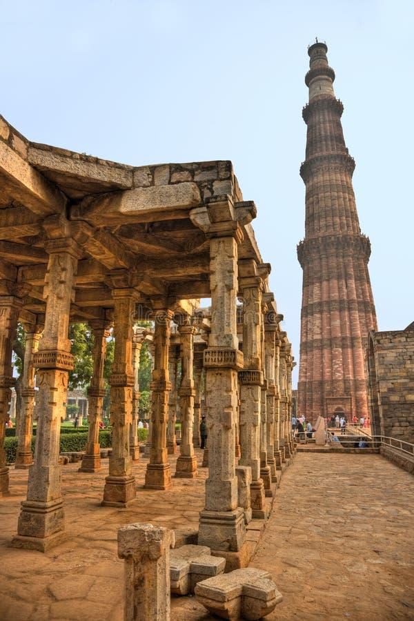 delhi minar nowego qutb indu fotografia royalty free