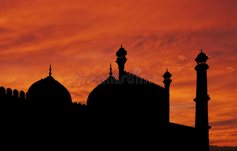 Delhi Mosque Sunset Royalty Free Stock Photography
