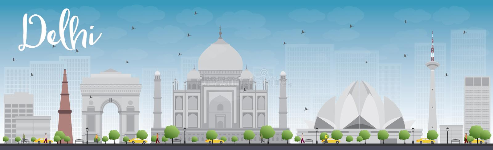 Delhi skyline with grey landmarks and blue sky. Vector illustration. Business travel and tourism concept with historic buildings. Image for presentation royalty free illustration