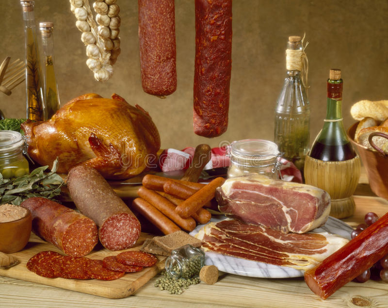 Deli Cold Cuts Composition stock photography